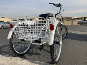Trike Tricycle 3 wheeler White Balance Bike Bicycle adult 24 in 7 speed Basket Special needs bicycle