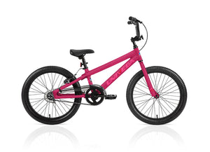 "Univega Arrow Speed 20"" Kids Bmx Matte Black and Hot Pink Bike Youth Aluminum SIngle speed"