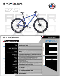 "Univega Rover Premio 27.5"" Mountain Trail Adventure Bike"