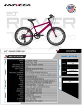 Load image into Gallery viewer, Univega Rover Trax 20 Kids Bike (2021) - Plum