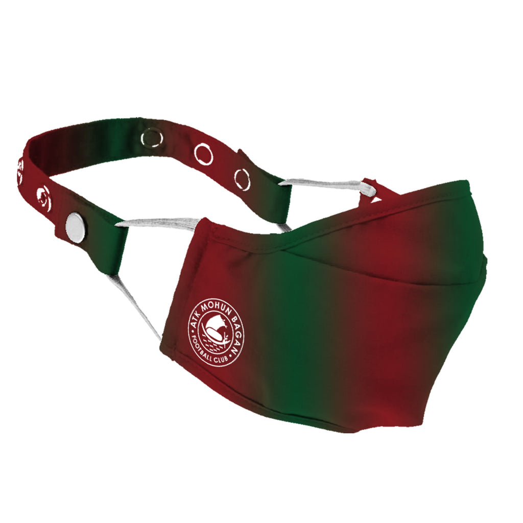 Limited Edition  ATK Mohun Bagan Premium Face Mask with Nose Pin | Pack of 2 Maroon & Green