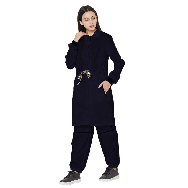Zero Risque Adjustable Coat Coverall/ PPE by Fearless Fashion | Unisex | Navy Blue