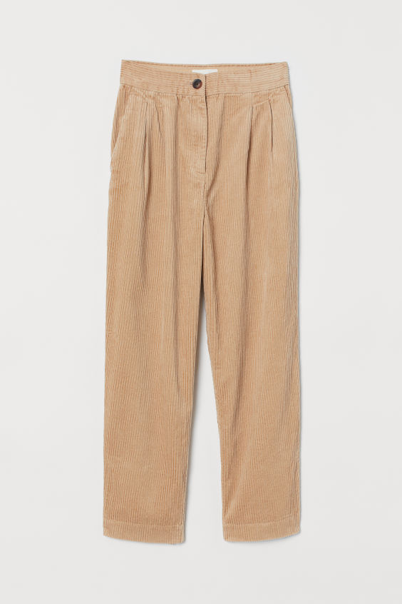 Corduroy High-Waist Pants