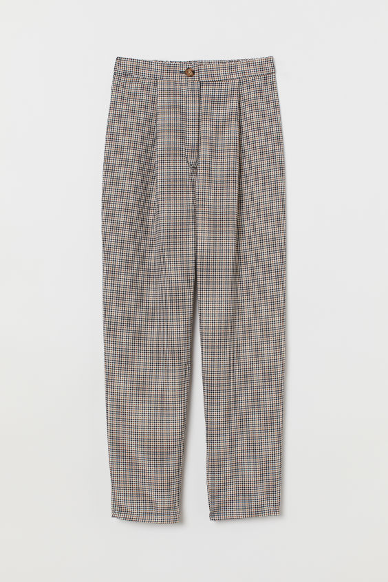 Checkered High-Waist Pants