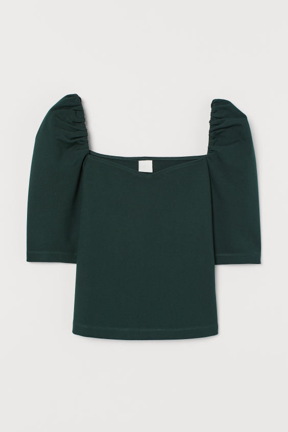 Ruched Mid-Sleeve Top
