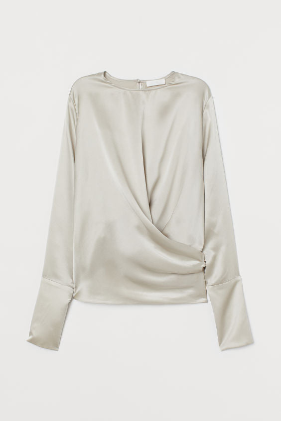 Silk Wrap Long Sleeve Top