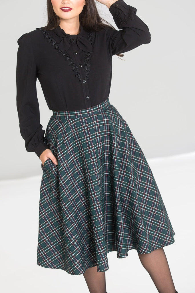 Hell Bunny Peebles Tartan Green Skirt