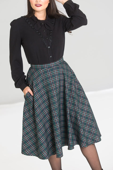 Hell Bunny Peebles Tartan Green Skirt (L ONLY)