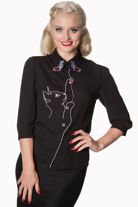 Dancing Days by Banned Playful Kitten Blouse Black