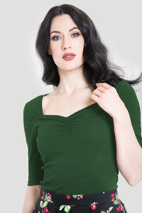 Hell Bunny Philippa Top Dark Green