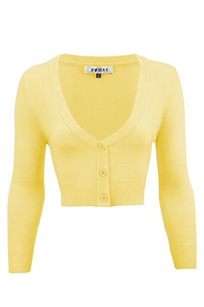MAK Cropped Cardigan Baby Yellow