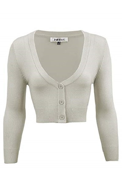 MAK Cropped Cardigan Light Grey