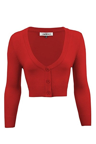 MAK Cropped Cardigan Red