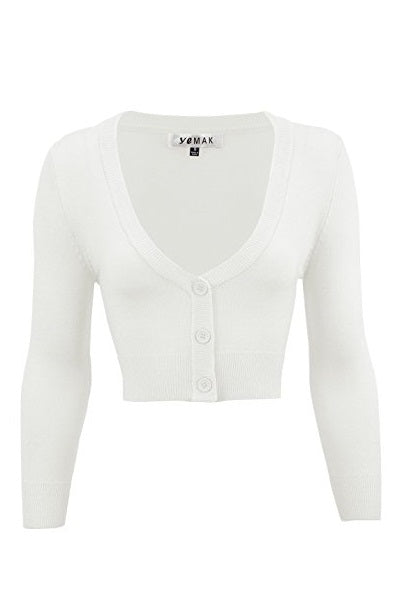 MAK Cropped Cardigan White