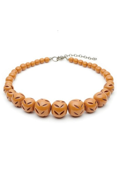 Splendette Necklace - Carved Bead Almond