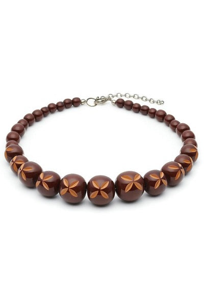 Splendette Necklace - Carved Bead Walnut