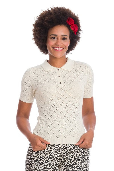 Banned Retro Love Hearts Knitted Top Ivory