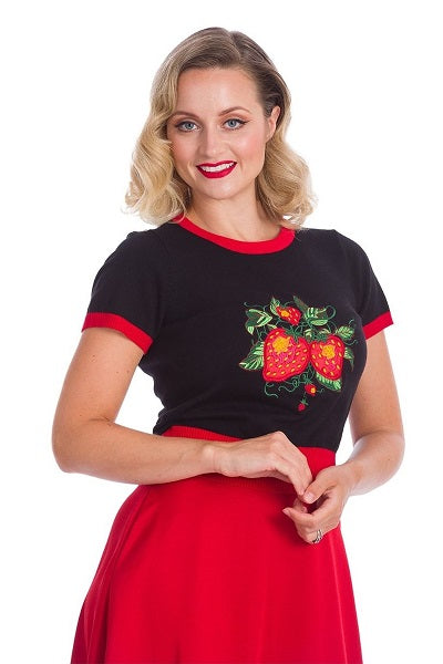 Banned Retro Ruby Strawberry Fields Knitted Top