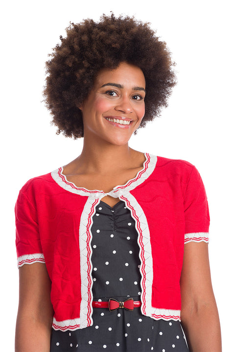 Banned Retro Sasha Scallop Bolero Red