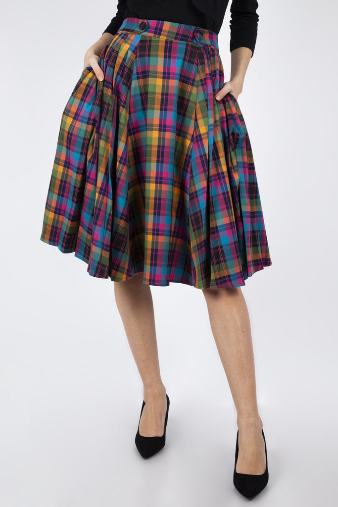 Voodoo Vixen Camilla Rainbow Plaid Skirt