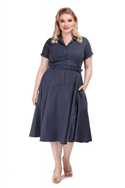 Collectif Caterina Navy Mini Polka Dot Swing Dress