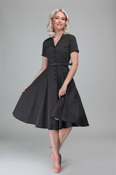 Collectif Caterina Black Mini Polka Dot Swing Dress