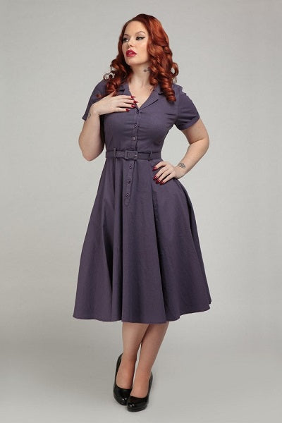 Collectif Caterina Purple Swing Dress