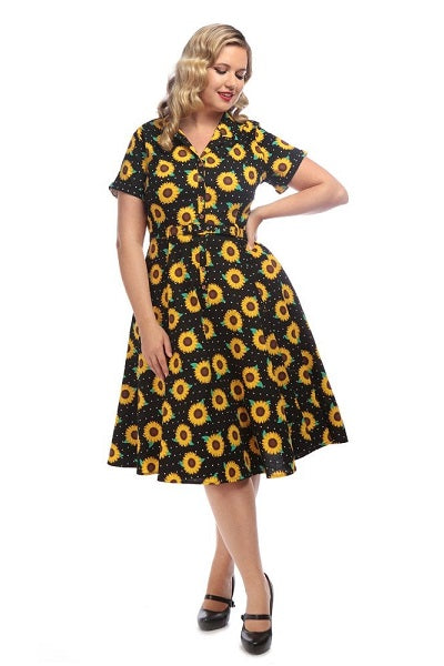 Collectif Caterina Sunflowers Swing Dress