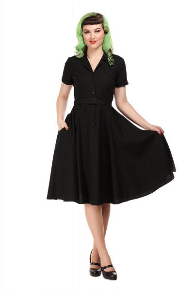 Collectif Caterina Black Swing Dress