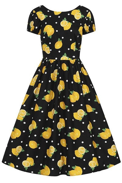 Collectif Demira Polka Lemon Dress