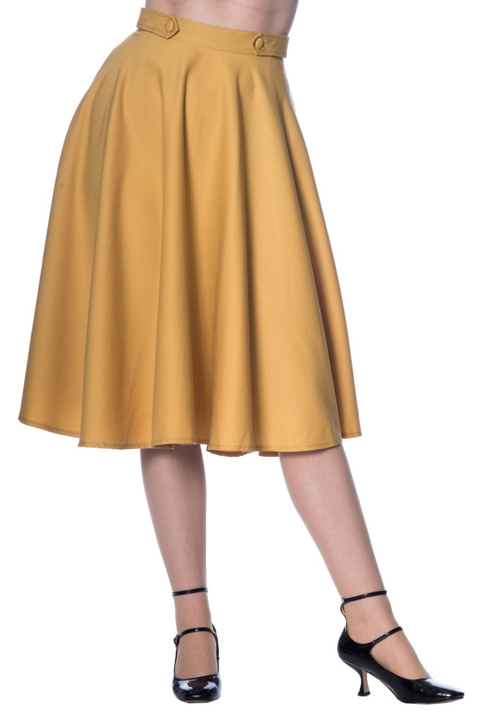 Banned Retro Di Di Skirt Mustard
