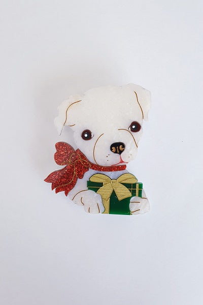Daisy Jean Floral Brooch Holly the Christmas Puppy