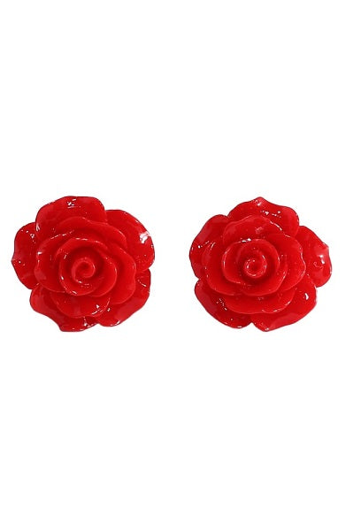 Collectif Stud Earrings Rose Red