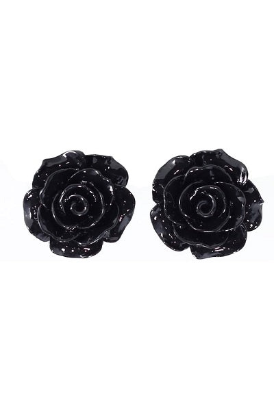 Collectif Stud Earrings Rose Black