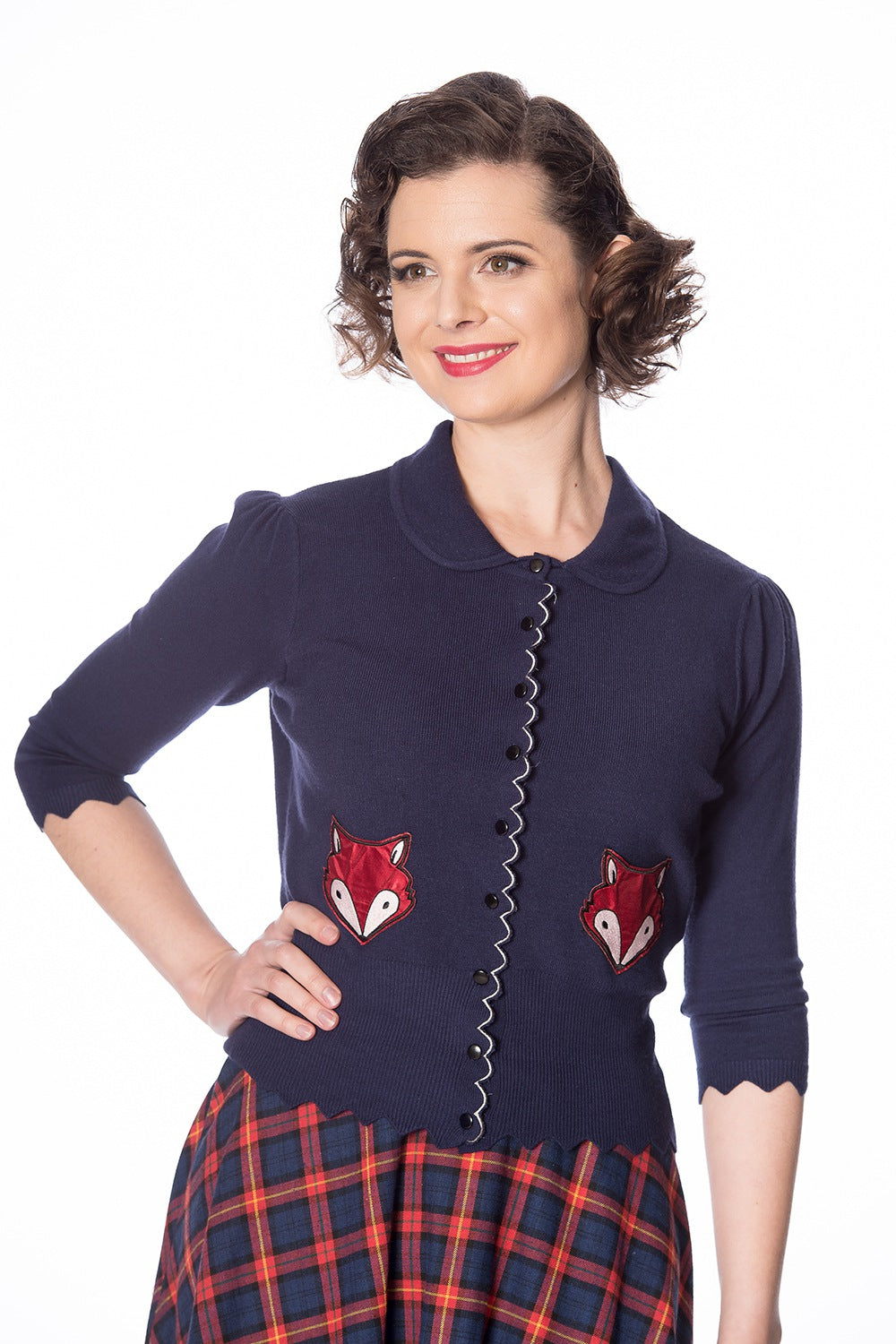 Banned Retro Foxy Navy Cardigan