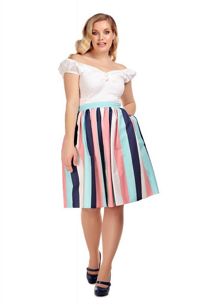 Collectif Jasmine Seaside Stripes Skirt