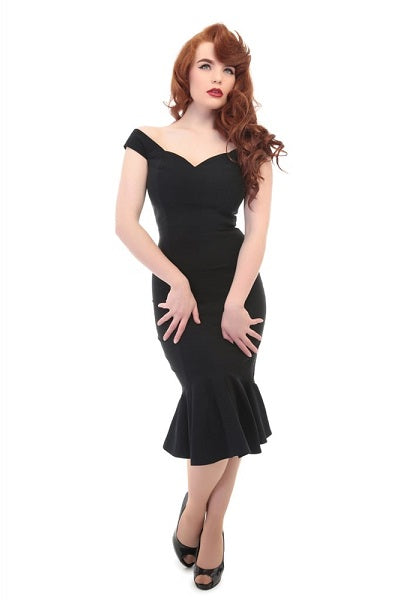 Collectif Josephine Fishtail Black Dress