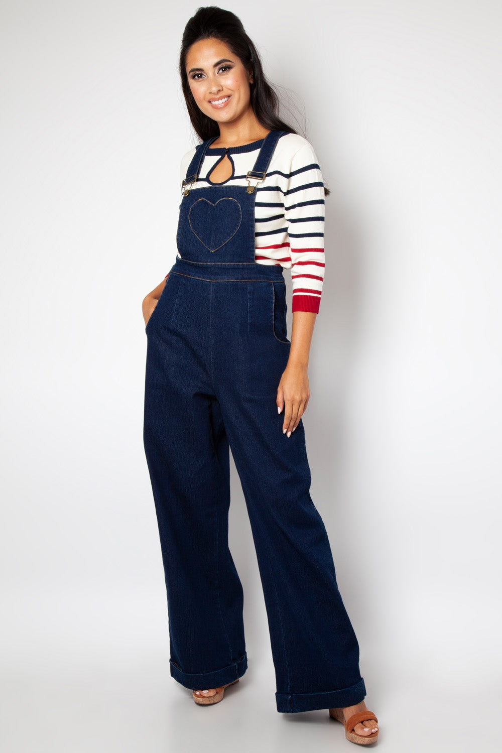 Voodoo Vixen Natalia Heart Pocket Dungaree