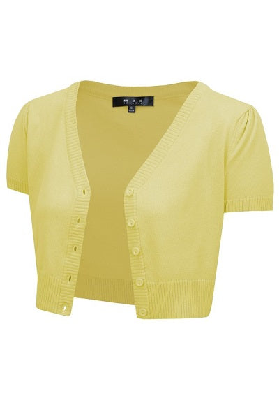 MAK Cropped Cardigan Short Sleeve Baby Yellow