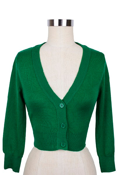 MAK Cropped Cardigan Kelly Green