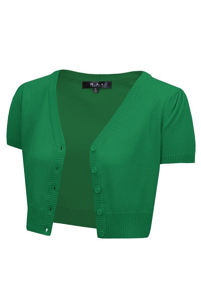 MAK Cropped Cardigan Short Sleeve Kelly Green