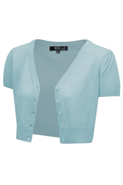 MAK Cropped Cardigan Short Sleeve Light Blue