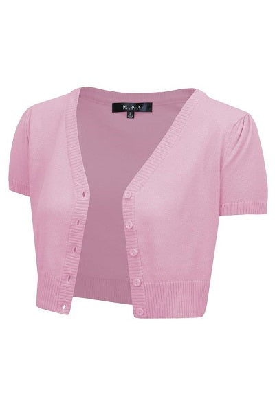 MAK Cropped Cardigan Short Sleeve Light Pink