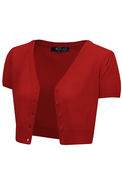 MAK Cropped Cardigan Short Sleeve Red