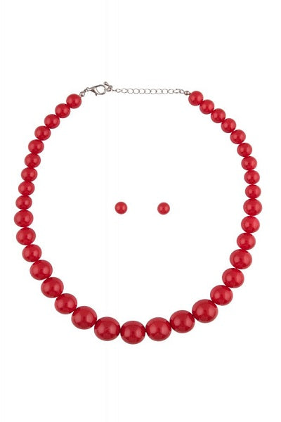 Collectif Bead Necklace Set Red