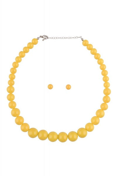 Collectif Bead Necklace Set Yellow