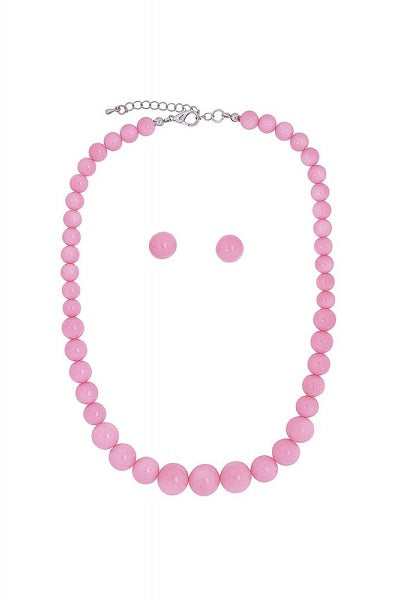 Collectif Bead Necklace Set Pink