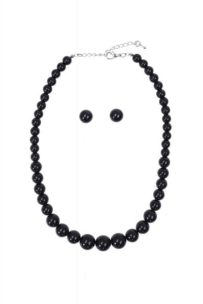 Collectif Bead Necklace Set Black