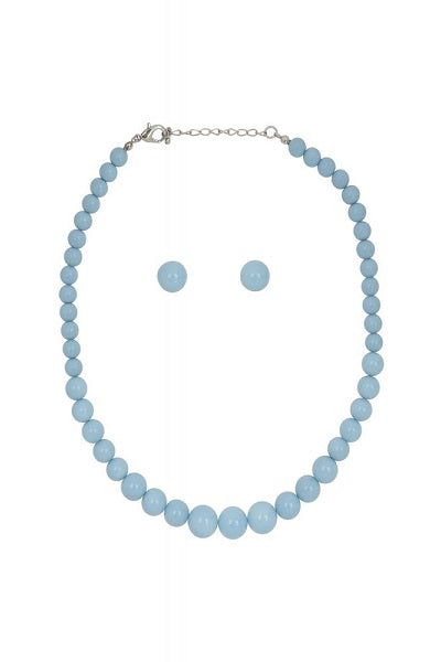 Collectif Bead Necklace Set Baby Blue