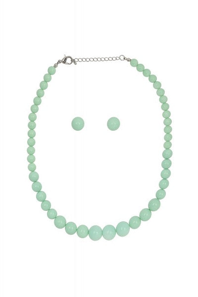 Collectif Bead Necklace Set Mint